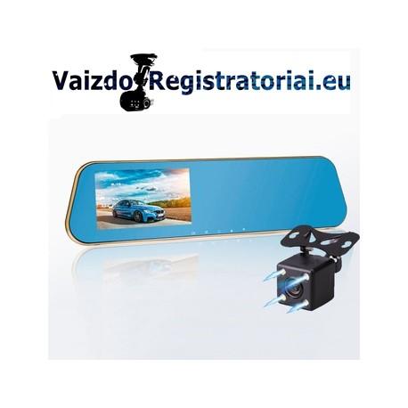 Vaizdo registratorius veidrodis su dviem kamerom | DVR MIRROR M45K
